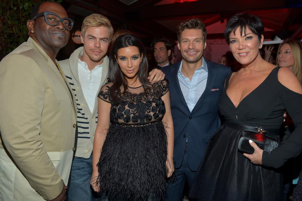Kim spent time at the party with Randy Jackson, Derek Hough, her producer Ryan Seacrest and, of course, momager Kris Jenner.