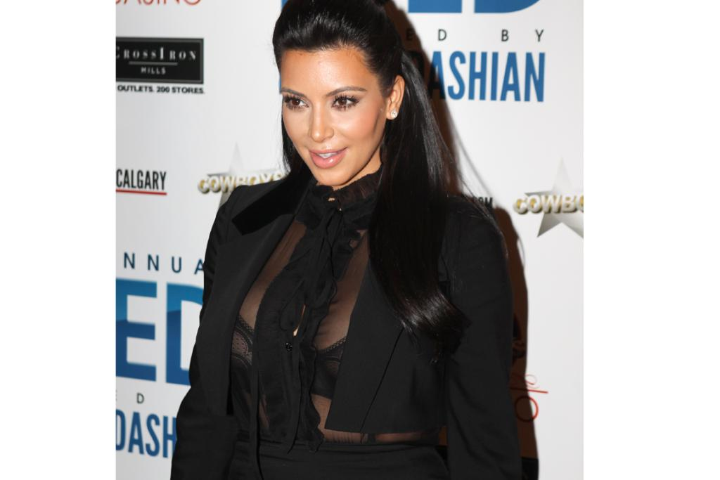 Kim turned heads when she opted for a sheer look when hosting an event in Canada last month.