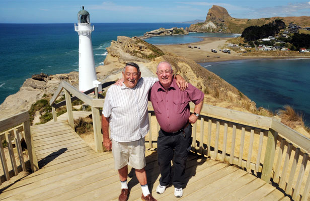 Brian Emerson, left, son of former lighthouse keeper Harry Emerson (keeper in 1941-45) and Grant Hinchcliff - the last lighthouse keeper 1970s to 1980s.