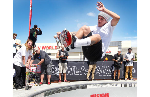 UP IN THE AIR: Last year's winner Pedro Barros of Brazil in action during the heats at the Vans Bowl-a-Rama, Waitangi Park, Wellington.