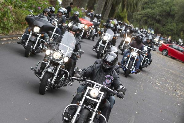 Riders in the Harley-Davidson mass run at the Ellerslie Event Centre to celebrate 110 years of the brand.