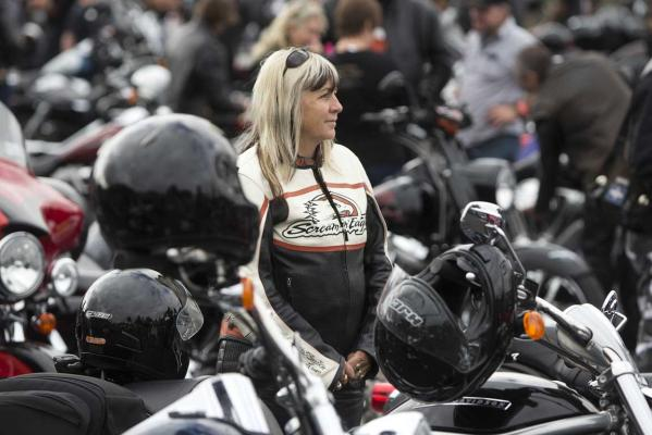 A riders waits for the Harley-Davidson mass ride to begin at the Ellerslie Event Centre to celebrate 110 years of the brand.