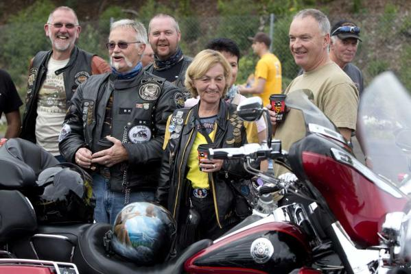 Members of the Christchurch Rolling Thunder chapter take part in the Harley-Davidson mass ride at the Ellerslie Event Centre to celebrate 110 years of the brand.