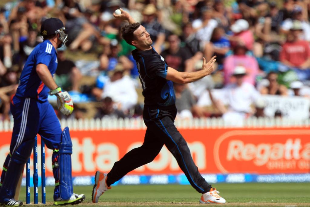 James Franklin bowling for New Zealand.