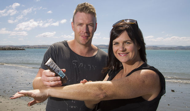 HEALTH CONSCIOUS: Hawke's Bay couple Olly and Martha Van Arts with their Skinnies sunblock.