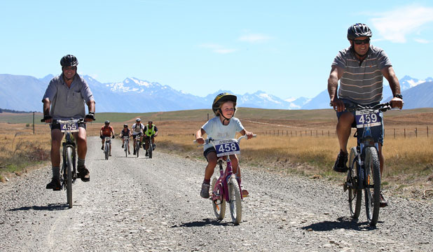 ALL AGES: Suzie Smith of Omarama was the youngest rider to enjoy the Alps 2 Ocean Cycle Trail section from Lake Ohau to Omarama on its official opening day at the weekend.