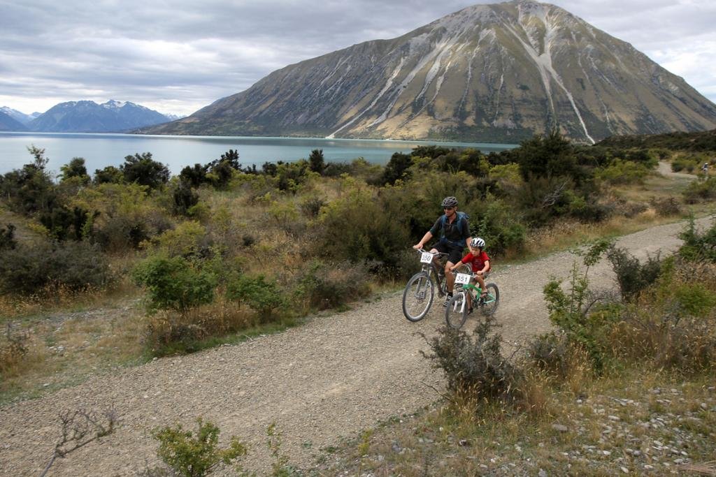 PUT TO TEST: Tim and Liam Dennis, 7, test the Twizel to Ohau section of the Alps 2 Ocean cycleway.