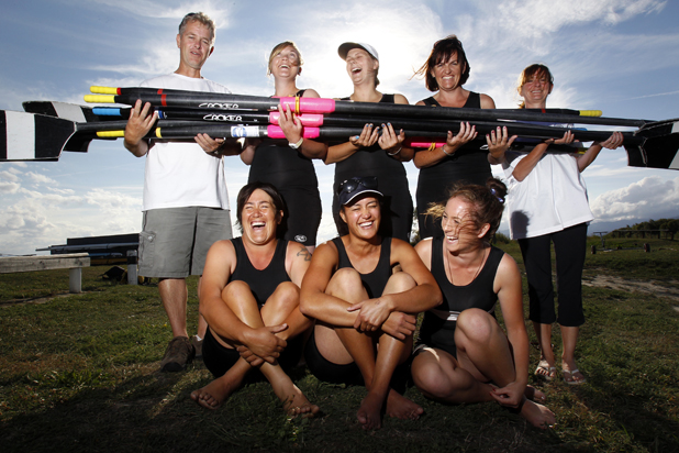 Blenheim Rowing Club women's rowers. L-R Back row, Coach Steve Hill, Esme Holdsworth, Satcey Harper, Karmyn Ingram, Gill Wallace (cox) Front row, Bindy Taylor (aka Johnny B), Richelle Collier and Paige Gilmore.