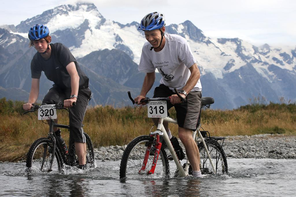 OFF ROAD: Luke and Jake Preston-Marshall of Twizel decide to take the river rather than the bridge on the section between Mt Cook and Braemar Station on the Alps 2 Ocean cycleway.