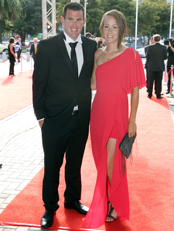 Joseph Sullivan arrives with his partner Holly Ross at the 2013 Halberg Awards at Vector Arena in Auckland.