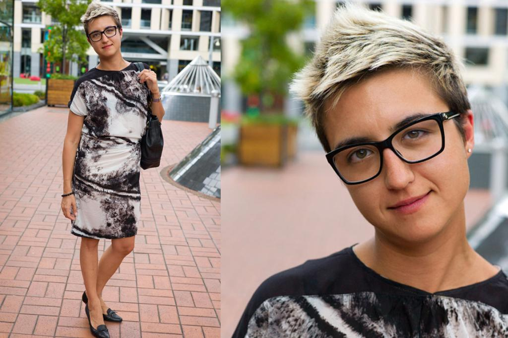 Kristina spotted wearing a printed dress on her lunch break in Britomart.