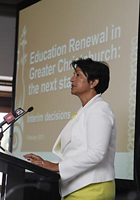 ANNOUNCEMENT: Education Minister Hekia Parata makes the official announcement of school closures and mergers.