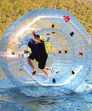 ZURF'S UP: From the makers of the Zorb, this contraption will be used by  three Aucklanders attempting to cross the harbour to raise charity funds.