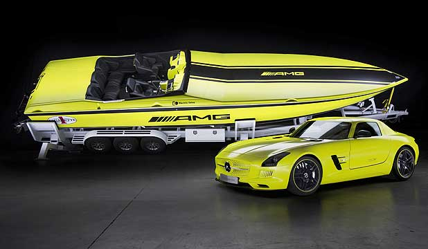 Cigarette Racing AMG Electric Drive Concept powerboat and the Mercedes-Benz SLS AMG Coupe Electric Drive.