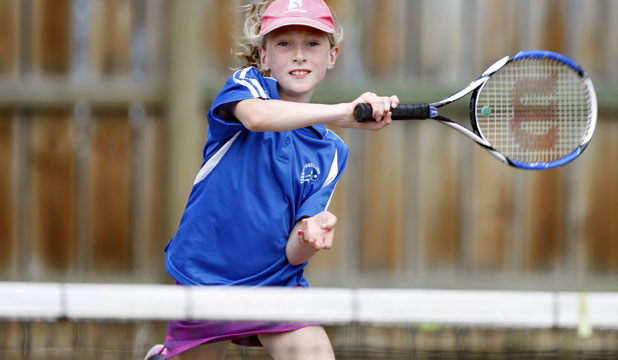 IN CONTROL: Southland's Harriett Cuttance, 10, returns the ball while playing on Sunday in the Southern Districts teams tournament at Queens Park in Invercargill.