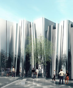 The proposed Len Lye Centre, which Govett-Brewster critic Morris West has described as a 'urinal'.