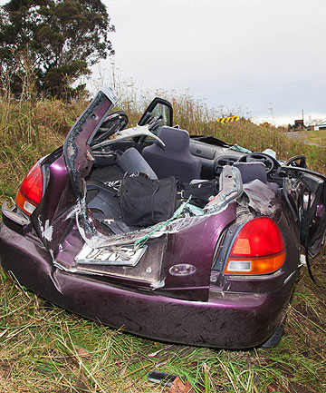 WRECKED: The car Romy Goodfellow was driving when she crashed.