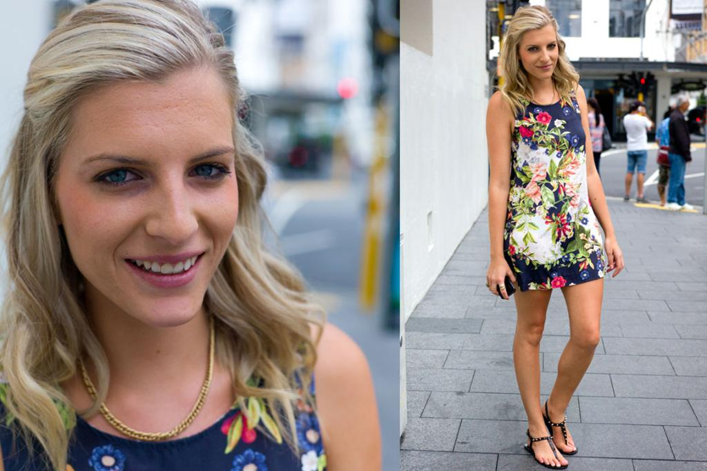 """""""Everyone asks where I get this dress from, and it always surprises them when I say Glassons!"""" said this anonymous blonde spotted on Commerce Street in Auckland."""