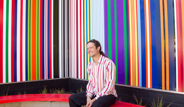 PUBLIC ART: The stripes in a new RSA mural by Regan Gentry, pictured are designed to reflect military ribbons