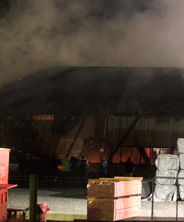 Firefighters were called to a blaze at Taranaki Sawmills in Bell Block late last night