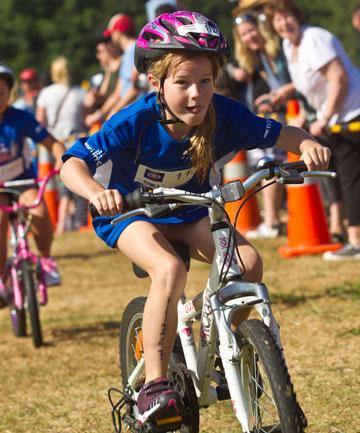 The Weet-bix Kids Tryathlon took place at Waikato University in the weekend.  Piper Begbie on the bike.