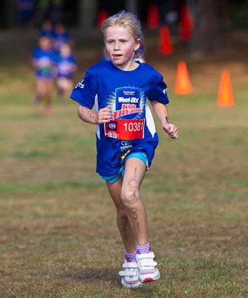 The Weet-bix Kids Tryathlon took place at Waikato University in the weekend.  Kate Mulder running in the triathlon.