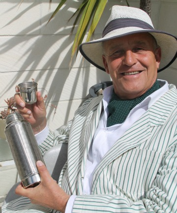 Ranfurly Art Deco Festival event organiser Martin McPherson gives his art deco cocktail shaker a trial run.