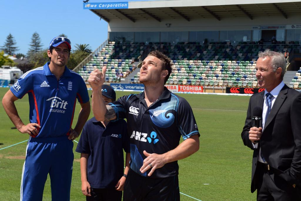 Brendon McCullum tosses the coin ahead of the second ODI against England.