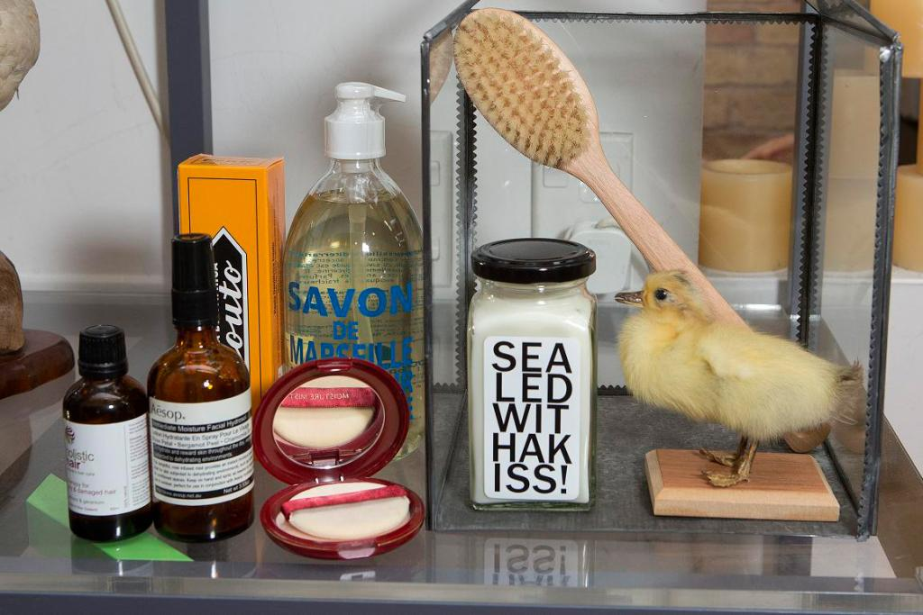 And here we have Denise's Aesop Hydrator, Holistic Hair treatment, Shiseido powder and Savon handwash.