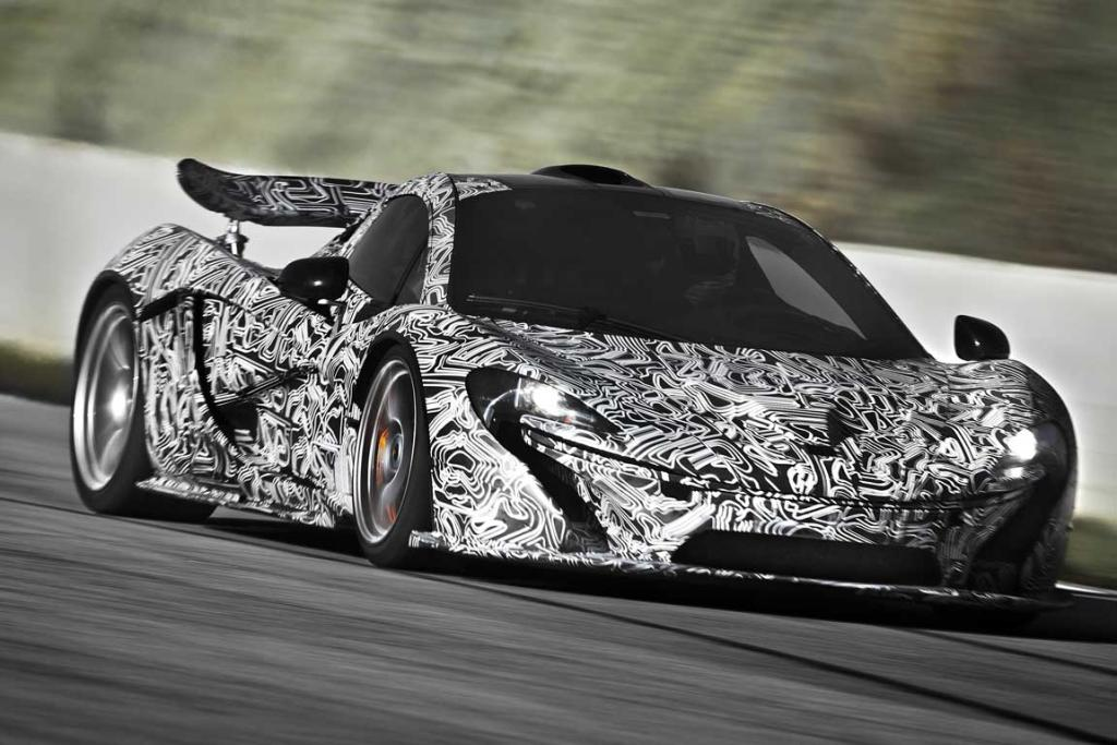The McLaren P1 during track testing.