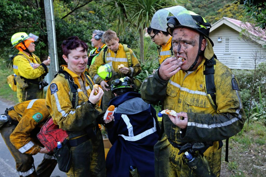 Firefighters replenish energy supplies.