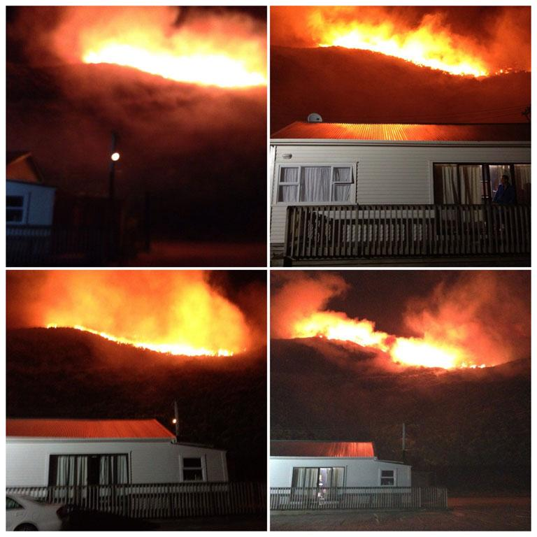 These reader photos show the fire near the landfill in Happy Valley, soon after it began.