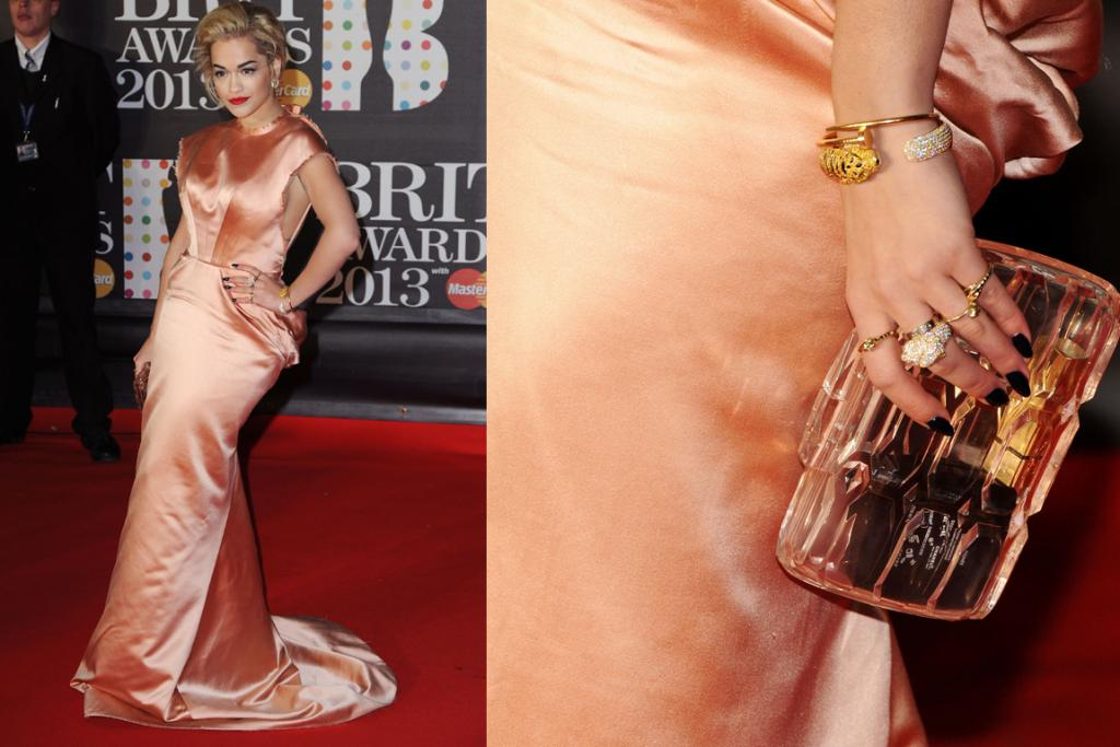 The Bad: We like that Rita Ora tried to go glam (as she looks amazing when she pulls it off) but this Ulyana Sergeenko gown is a fail. It's way too long and a bad colour on her. The Perspex Gucci clutch is cool, though.