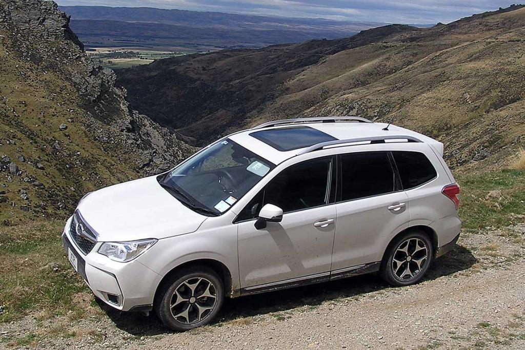 High on a hill: The 2013 Subaru Forester on its launch test drive in the South Island.