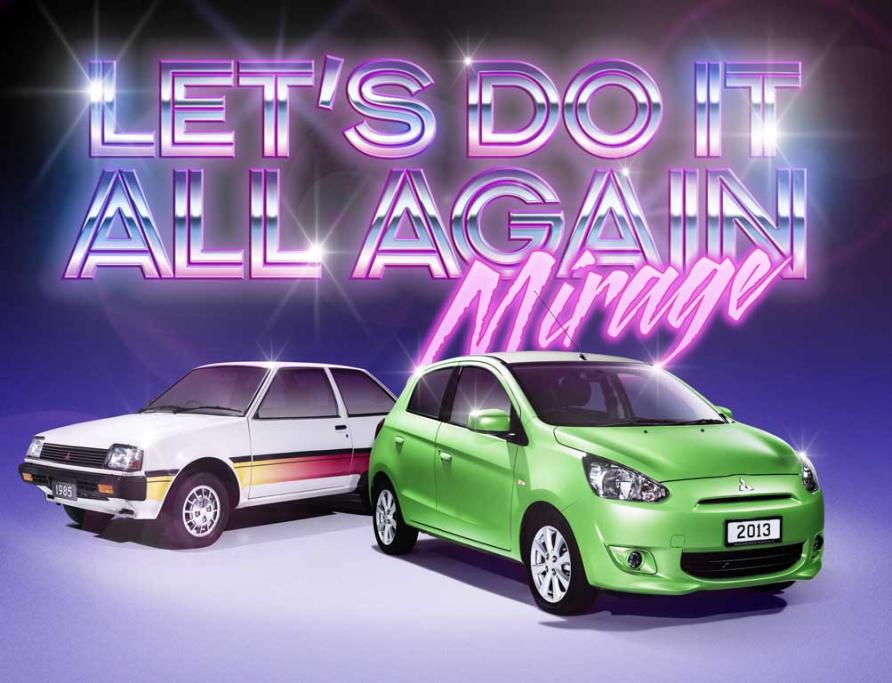 Then and now: Mitsubishi Mirage, first seen here in 1978 and a staunch family favourite in the 80s and 90s, makes a 21st Century comeback.