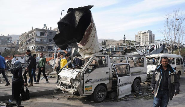 DEADLY BLAST: A view of the scene of an explosion in Damascus which has killed at least 53 people.