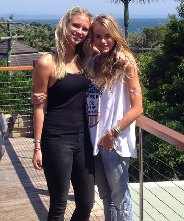 LADY LOVE: Cressida Bonas (R) snapped with a friend at Australia's Byron Bay.