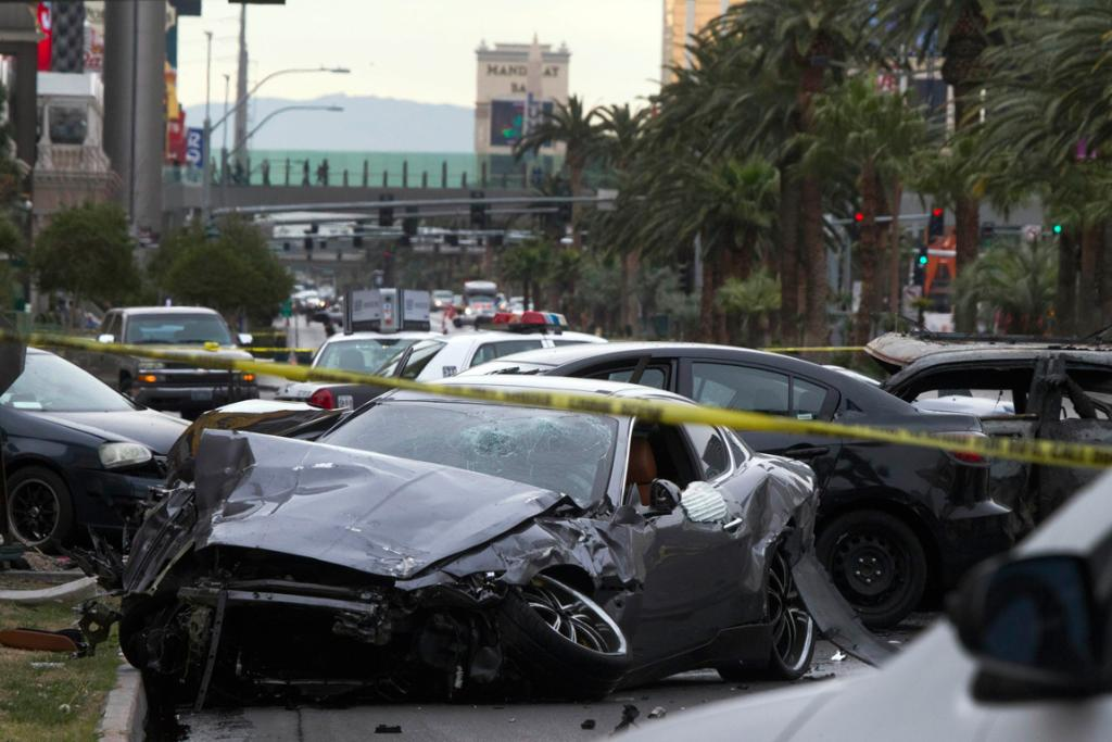 The carnage after the shooting and crashes on on Las Vegas Boulevard and Flamingo Avenue in Las Vegas.