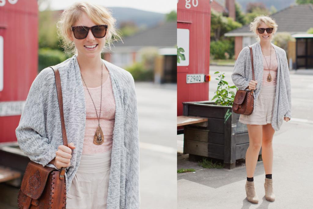Sophie, seen on Ferguson Drive in Upper Hutt, wearing a Glassons cardi, Thrifted shorts, shoes from Minx. Her leather bag is vintage.