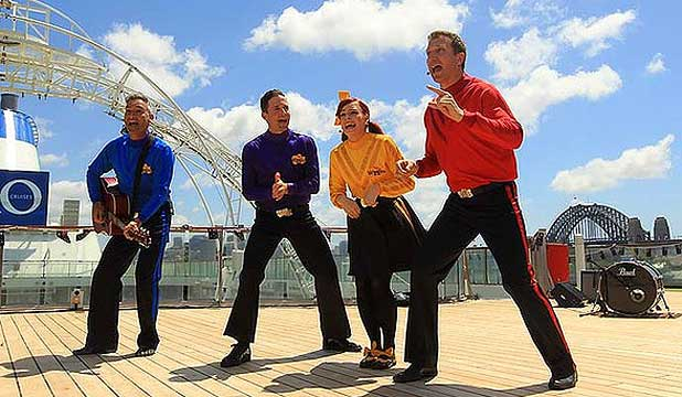 NEW LOOK: Anthony Field, left, with Wiggles new faces Lachy Gillespie, Emma Watkins and Simon Pryce.