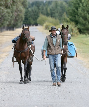 KINDNESS OF LOCALS: Peter Langford and his horses at Grasmere Station as he heads  towards Mount White Station, crossing the upper Waimakariri River.