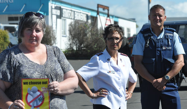Not in our town: Paula Marriner, left, Salvation Army Major Maureen Ashton and Youth Aid officer constable Pete Wright are taking a stand against synthetic cannabis.