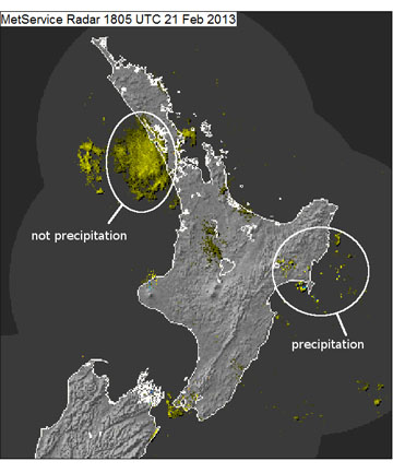 NO RAIN SHADOW: MetService's radar showed a Taranaki-sized patch of precipitation - even though there was no rain. It suspects the echo was an insect swarm.