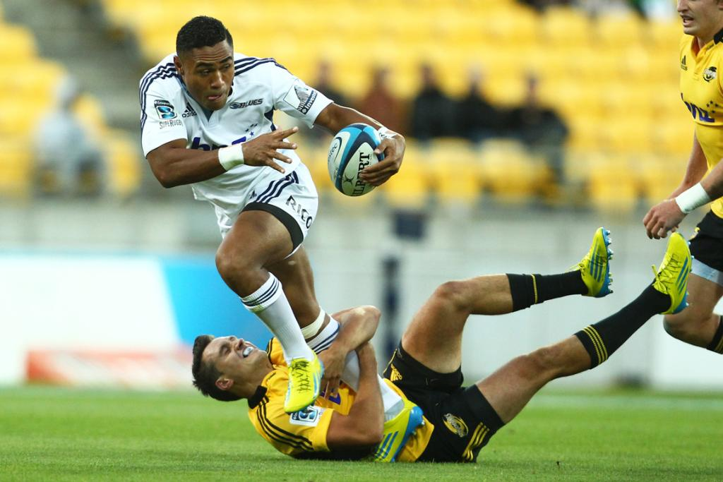 Francis Saili makes a break during the Blues win over the Hurricanes.