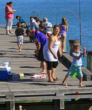 Hundreds of children and their parents turned up to the Waitara take a kid fishing day