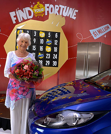 LUCKY MARY: Mary Marshall after receiving her prize on the Find Your Fortune game show.