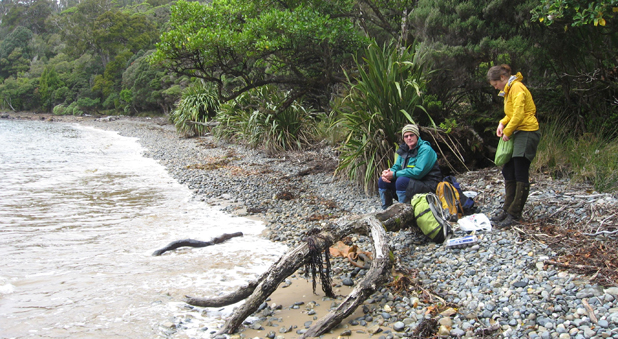 Southern Water Engineering manager Stephen Leitch from Blenheim is joined by Solid Energy geoglist Cara McDonald on a volunteer predator-trapping programme at Coal Island, Fiordland.