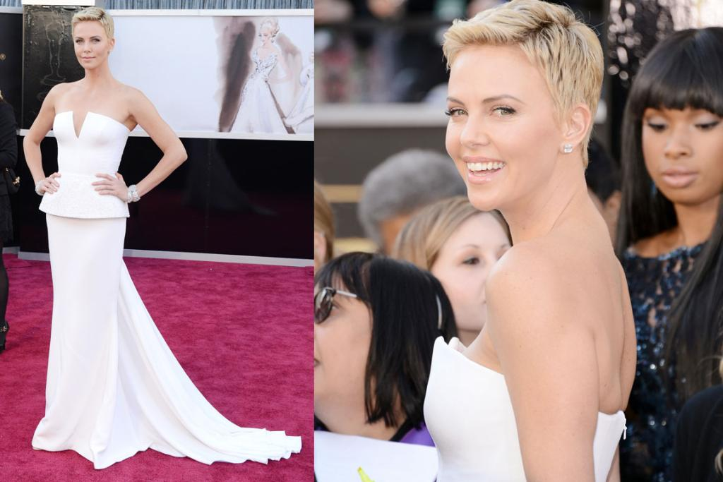 """The Good - 5'11"""" Charlize Theron shows the rest how it's done in Dior Haute Couture. She's even rocking her Miley-Cyrus-esque 'do. Check J-Hud sussing her out on the right."""