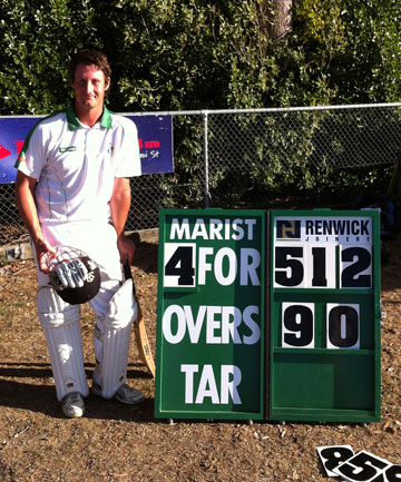 HUGE SCORE: Marist captain David Meiring and the score.