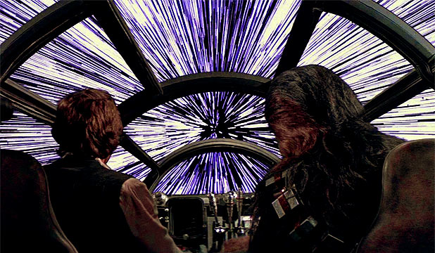 <br><b>PREPARE FOR LIGHTSPEED: Han Solo's spaceship in Star Wars, the Millennium Falcon, could make the jump to lightspeed at the flick of a switch – but it's not so easy for wannabe space travellers at the moment.</b>